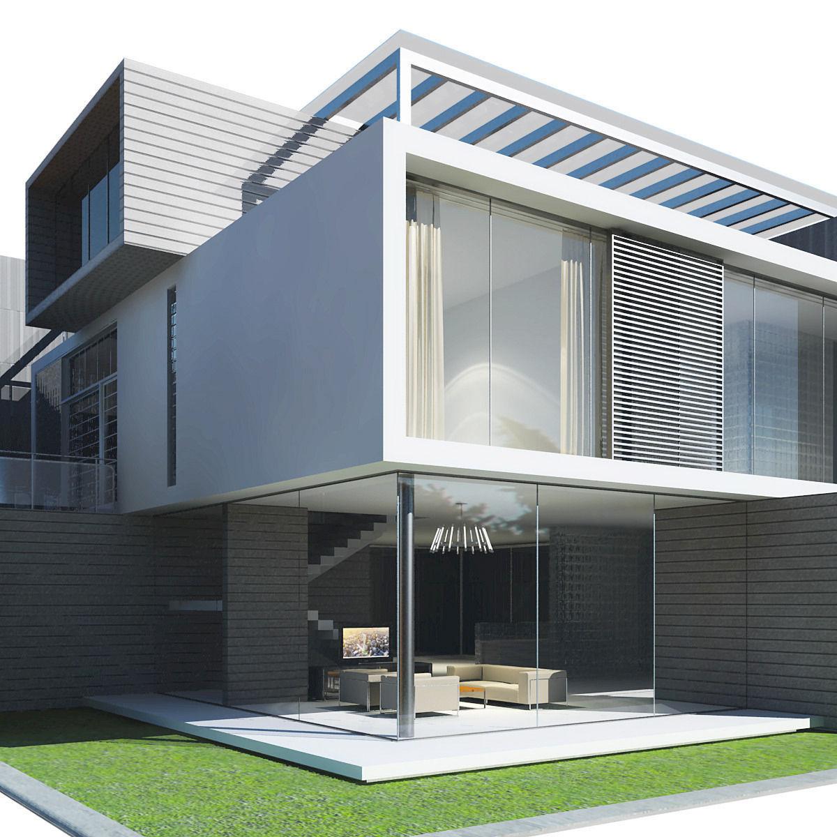 Modern House 3d Model Max Obj 3ds Fbx 3