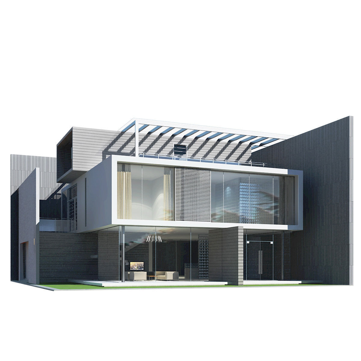 Modern house 3d model max obj 3ds fbx for Build house online 3d free