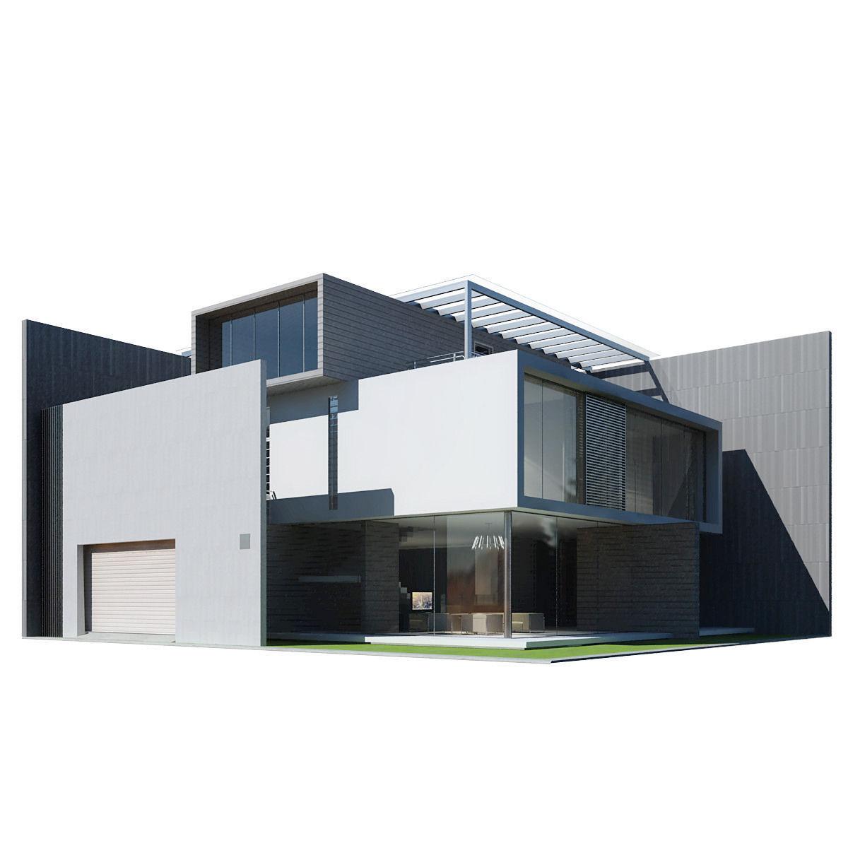 Modern House 3d Model Max Obj 3ds Fbx 5