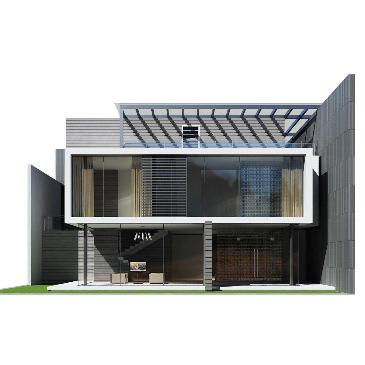 Modern house 3d model max obj 3ds fbx 4