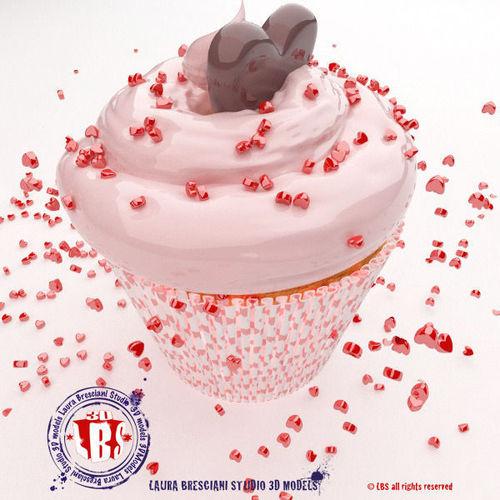 st valentine  cupcakes 3d model 3ds fbx c4d dxf dae 1