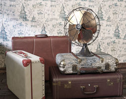 vintage fan and suitcases 3d model