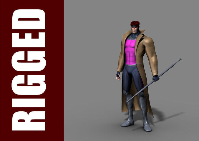 gambit rig 3d model rigged ma mb 1