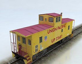 3D asset Union Pacific Caboose