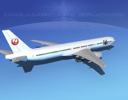 3d rigged boeing 777-300 japan airlines