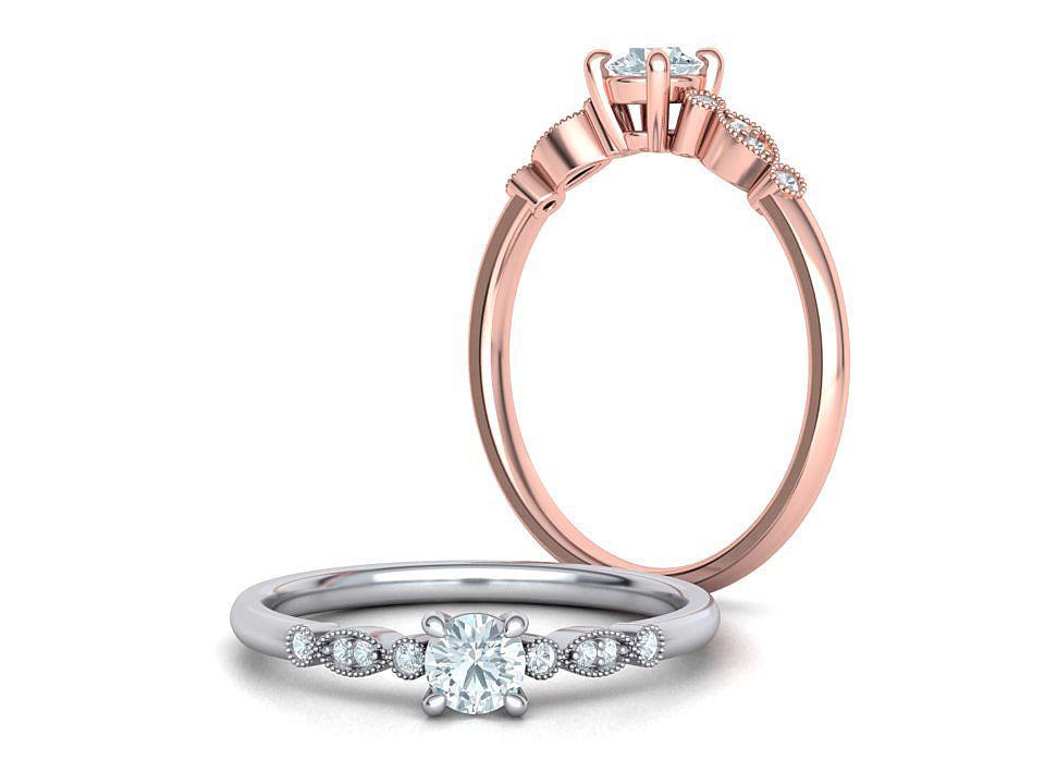 Milgrain Engagement ring 4prong design 3dmodel