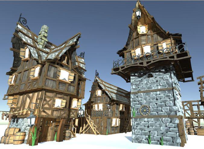 medieval fantasy town kit 3d model low-poly obj mtl 3ds fbx dae X 1