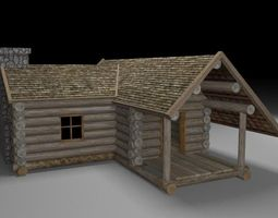wooden cabin low-poly 3d asset