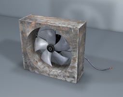 old fan - industrial fan VR / AR ready 3d model