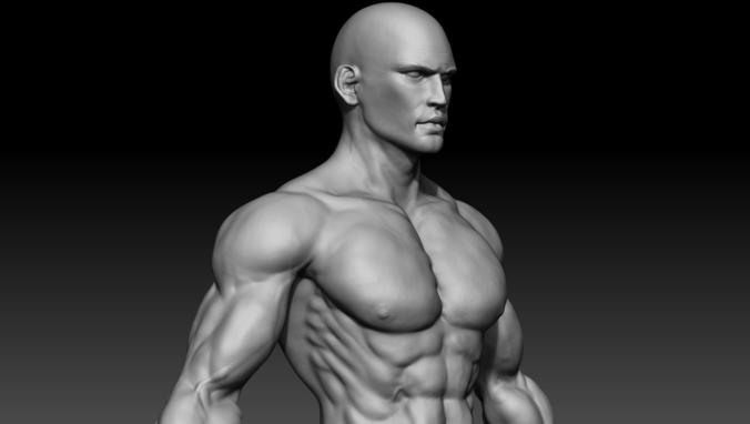 realistic muscular man 3d model obj ztl 1