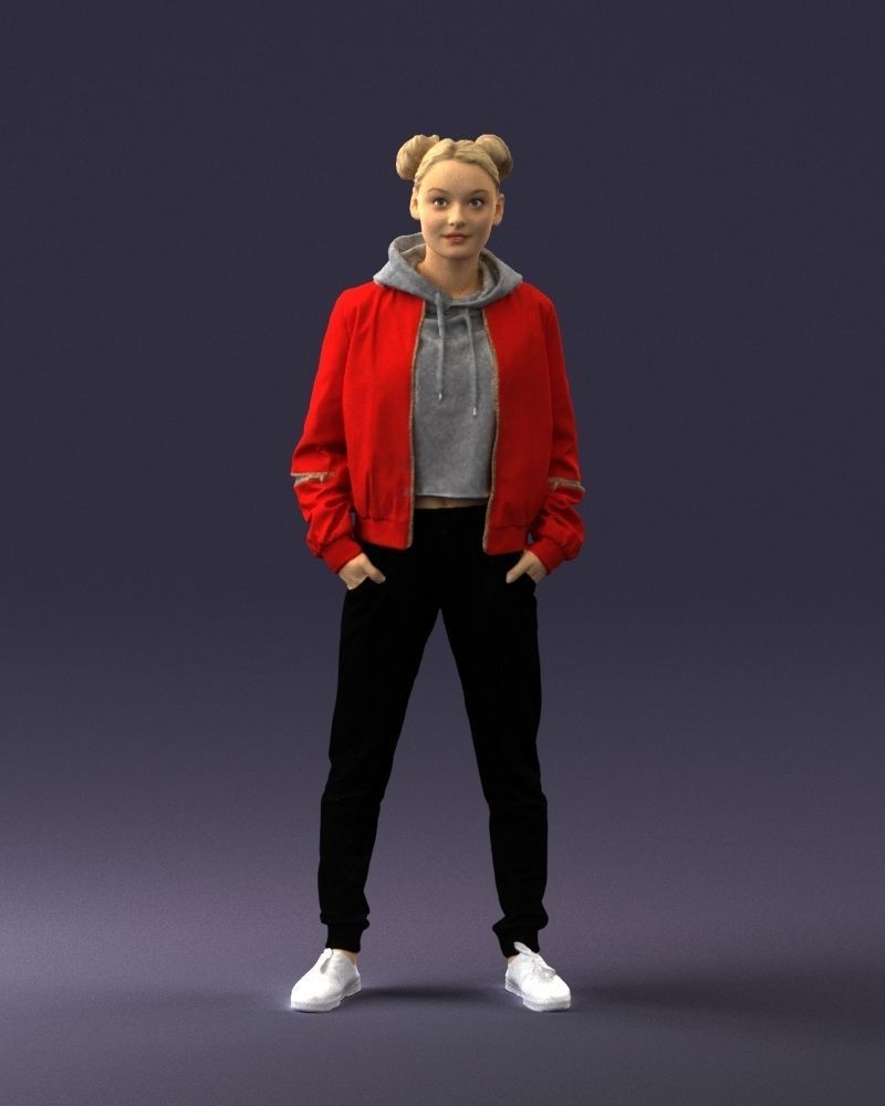 Teenage girl in a red jacket 0273 3D Print Ready