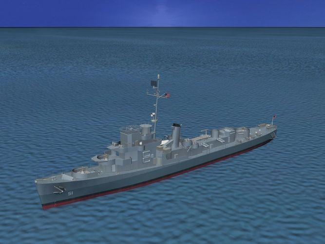 Military Car Lot >> Destroyer Escort DE-51 USS Buckley 3D Model rigged .max .obj .3ds .lwo .lw .lws .dxf .stl ...