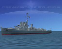 3d destroyer de-70 uss joseph e campbell rigged