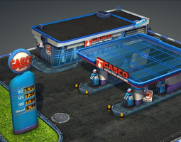 3d asset gas station pack - low poly game-ready