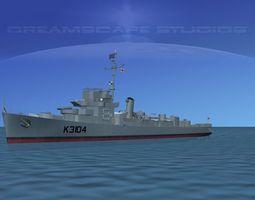 UK Captains Class Frigate HMAV Bayntun 3D Model