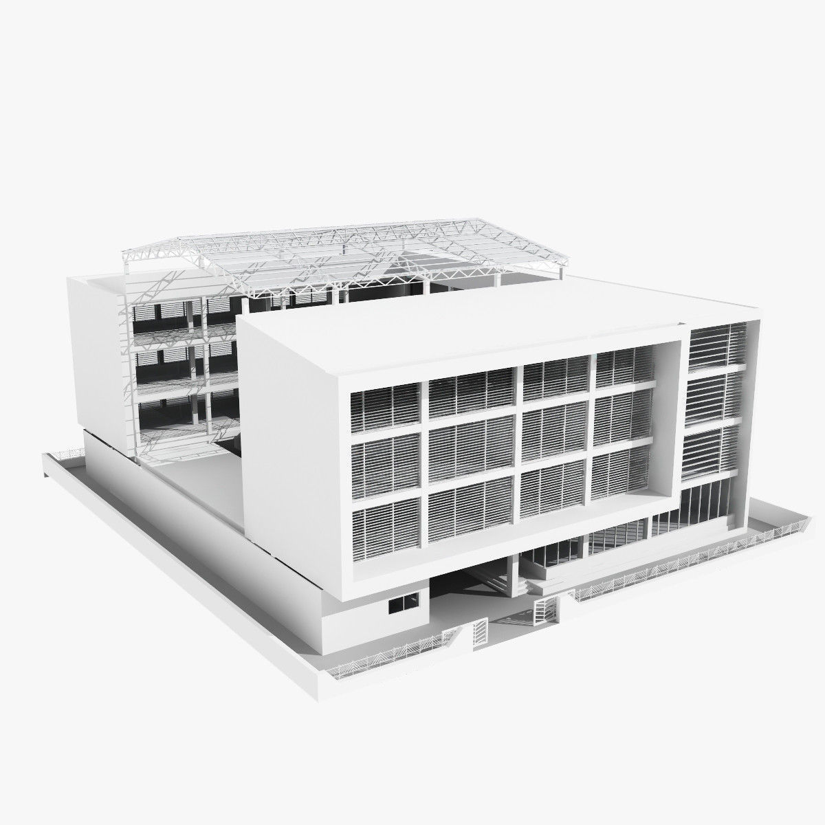 Low rise office building with courtyard 3d model max obj for 3d max building