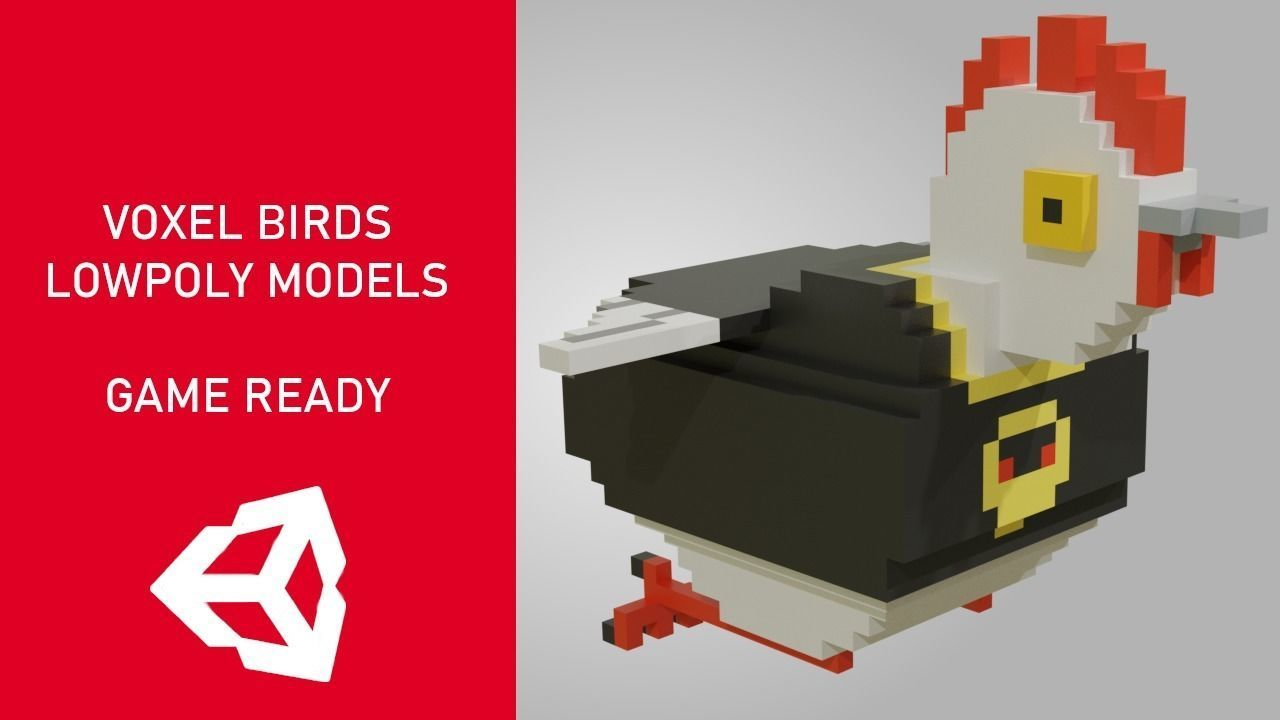 Voxel birds 3d lowpoly models - Game Ready