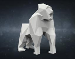 printable gorilla souvenir model in low-poly style