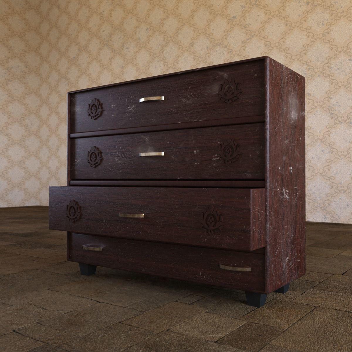 Wooden Drawer Cabinet Storage 3d model