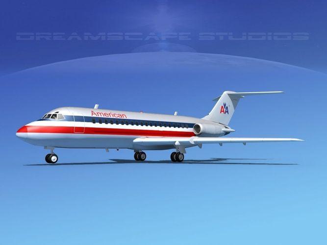 douglas dc-9-20 american airlines 2 3d model max obj 3ds lwo lw lws dxf stl 1