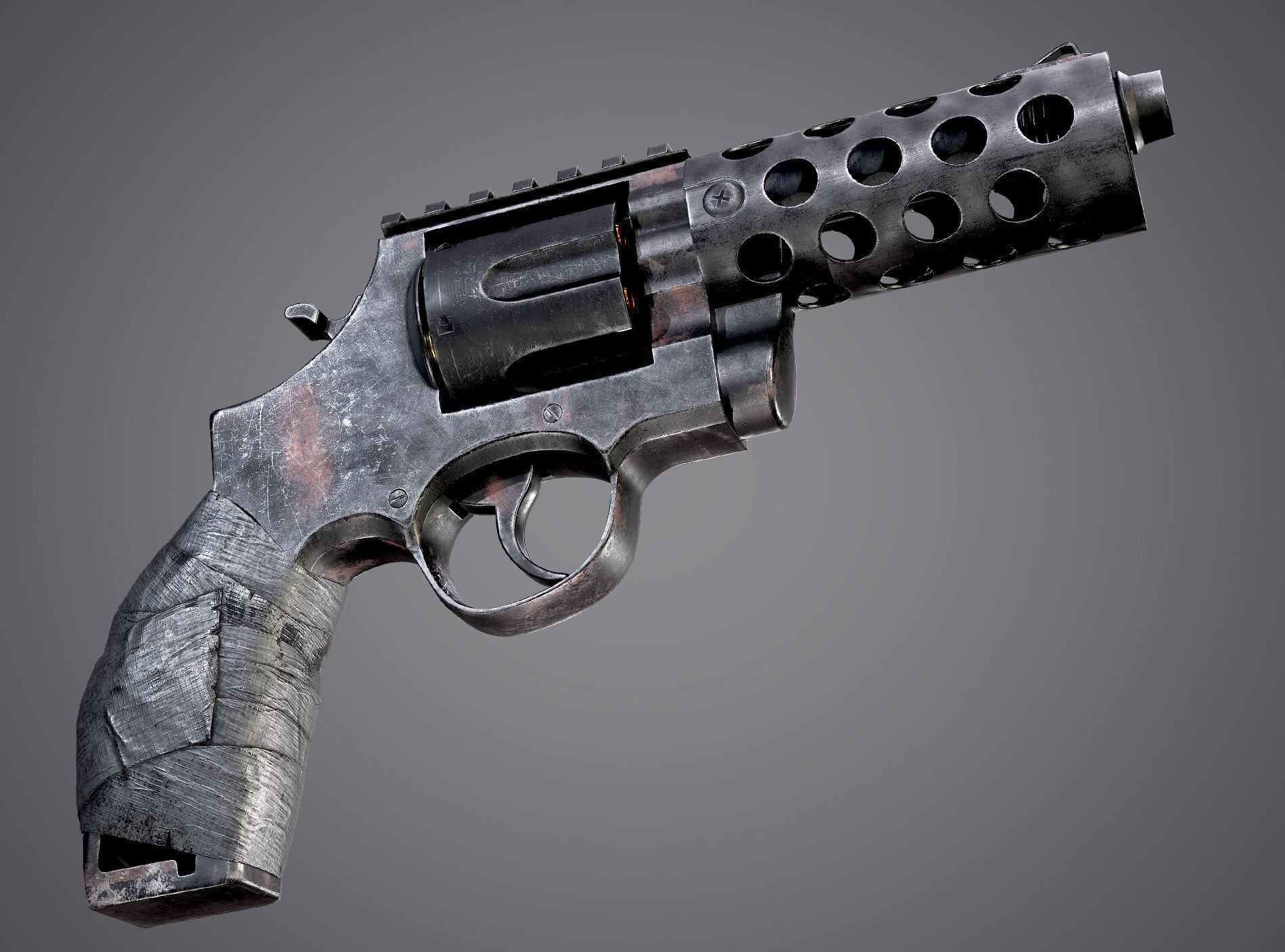 Makeshift Revolver Post Apocalyptic Pistol FPS Game Ready Asset