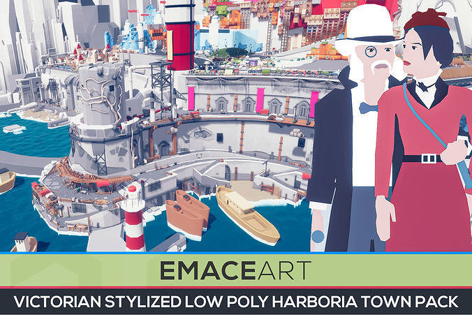 ART DECO Harboria - Stylized Low Poly Town Pack
