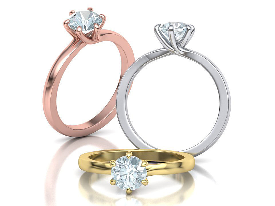 Six Twisted prongs Engagement ring 4rings collection