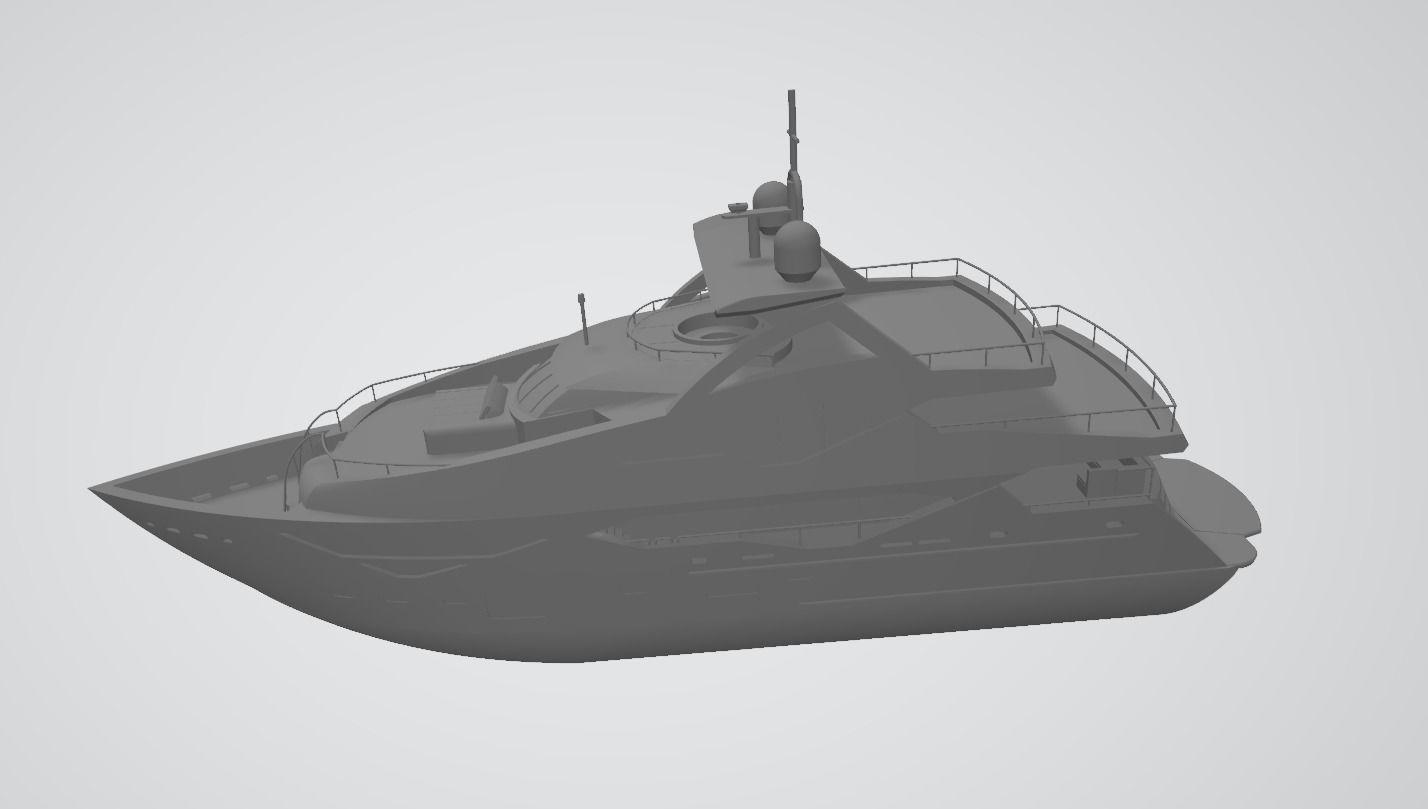 Sunseeker 131 yacht 3D Print file low polygon