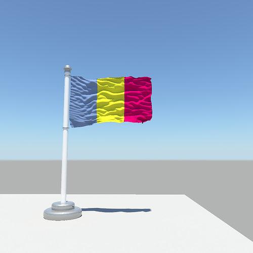 chad flag 3d model obj mtl fbx ma mb 1