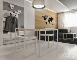 white minimalistic flat interior for small family 3d model
