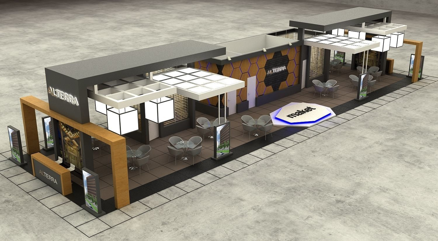 Exhibition Stall Size 29 m x 8 m  Height 366 cm