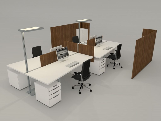 3d Model Office Desk With Accessories Cgtrader