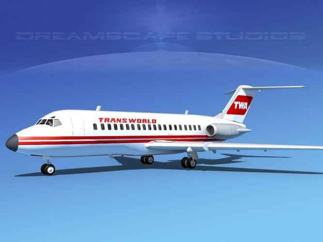 douglas dc-9-20 trans world airways 2 3d model max obj mtl 3ds lwo lw lws dxf stl 1