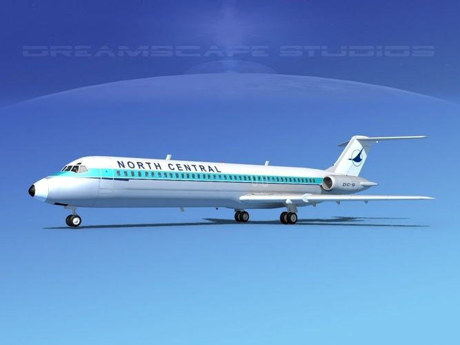 douglas dc-9-40 north central 3d model max obj mtl 3ds lwo lw lws dxf stl 1