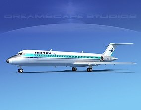 3D model Douglas DC-9-40 Republic Airlines