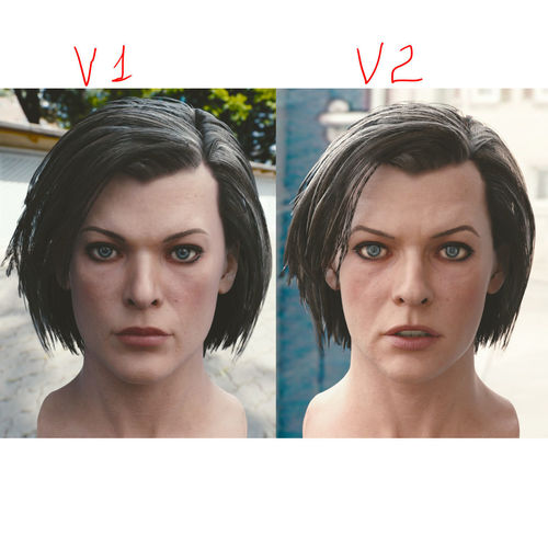 3d model milla jovovich head 3d model obj mtl blend 1