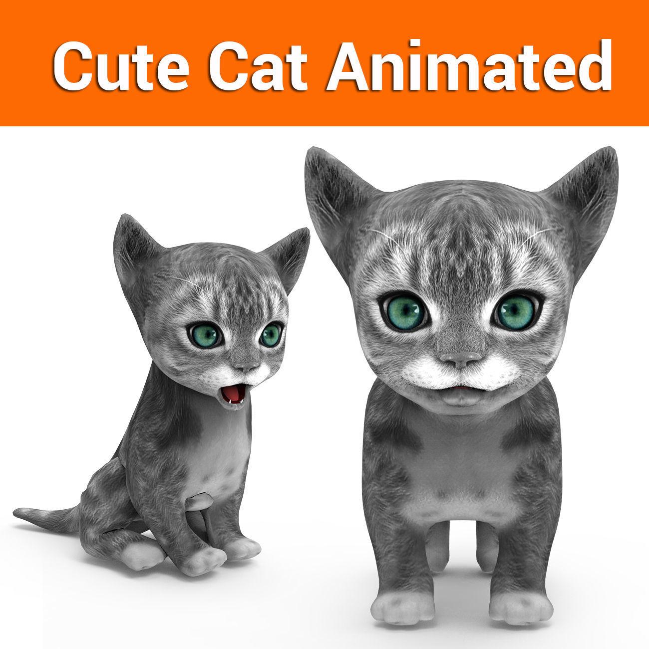 cute cat gray animated 3D model