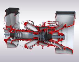 gas turbine game-ready 3d model