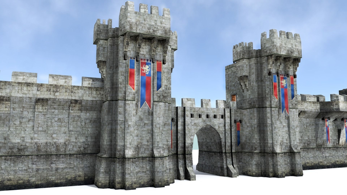 3d Model Medieval City Walls Vr Ar Low Poly Obj 3ds