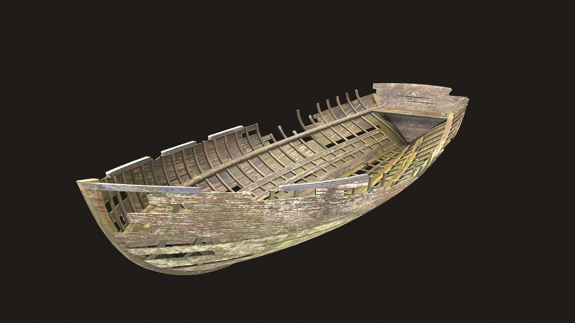 Destroyed wooden boat
