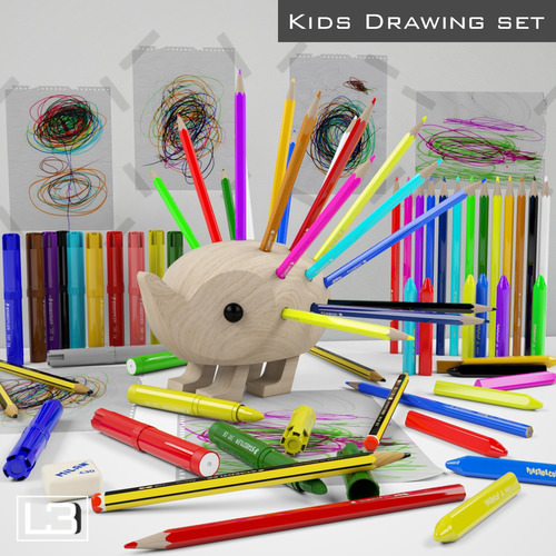 kids drawing kit 3d models. Black Bedroom Furniture Sets. Home Design Ideas