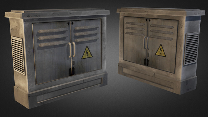 Electric Fuse Box 02 3d Model Game Ready  Max  Obj  3ds  Fbx  Dxf  Dwg