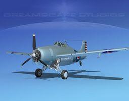 Grumman F4F-3 Wildcat V08 3D Model