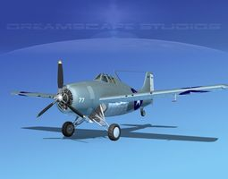 Grumman F4F-3 Wildcat V09 3D model