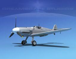 messerschmitt bf-109 bare metal 3d model rigged max obj 3ds lwo lw lws dxf stl