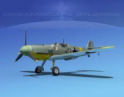 messerschmitt bf-109 v06 3d model rigged max obj 3ds lwo lw lws dxf stl