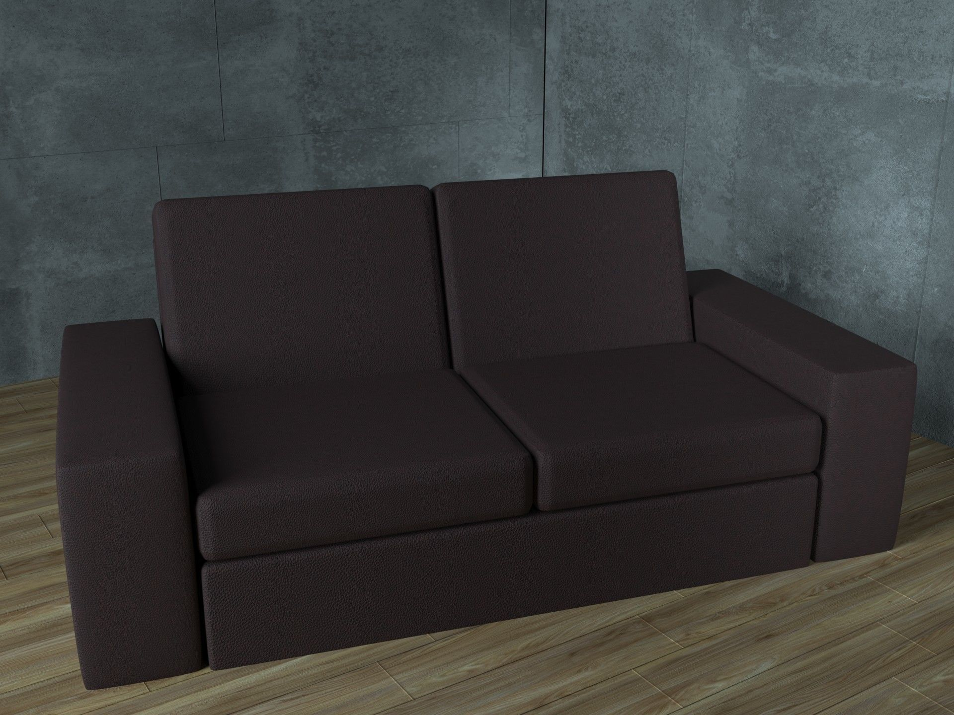 Small office sofa in dark brown leather color  46D model