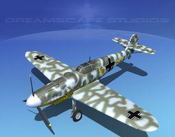 messerschmitt bf-109 v11 3d model rigged max obj 3ds lwo lw lws dxf stl