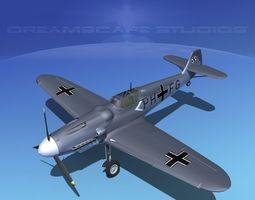 messerschmitt bf-109 v16 3d model rigged max obj 3ds lwo lw lws dxf stl