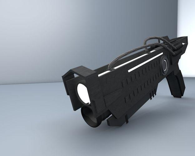 futuristic gun 3d model low-poly c4d 1